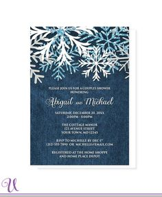 Rustic Snowflake Denim Winter Couples Shower Invitations