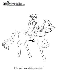 Horseback Riding Coloring Page Printable