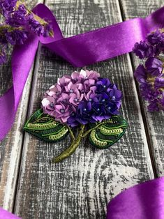 Floral purple brooch. Hydrangea flower jewelry embroidered | Etsy Hydrangea Flower, Flowers, Sweet Violets, Needlepoint Stitches, Flower Jewelry, Beaded Brooch, Unique Gifts, Handmade Gifts, Gras