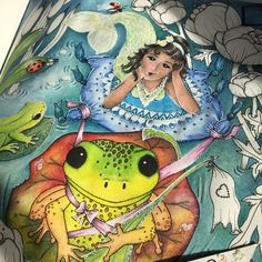 """Gefällt 55 Mal, 3 Kommentare - Andreia Dionísio (@and_dionisio) auf Instagram: """"And... my #frogpond #mermaid it's almost done!  #adultcoloringbook #coloring #inktense…"""""""