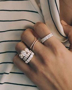 Unique engagement ring White gold Diamond Cluster engagement ring Delicate wedding women Bridal Dianty Multi stone Promise Anniversary Gift All our diamonds are natural and not clarity enhanced or treated in anyway. We only use conflict-free diamond Rose Gold Engagement, Three Stone Engagement Rings, Halo Engagement, Emerald Cut Wedding Band, Stacked Engagement Ring, Trilogy Engagement Ring, Stacked Wedding Bands, Double Wedding, Trendy Wedding
