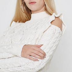 e99cf17d4d7 Cream frill high neck cable knit jumper Classy Outfits, Girly Outfits, Chic  Outfits,