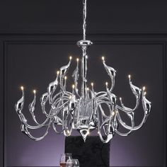 This stunning chandelier takes it's style from the elegant swan. Gorgeous!