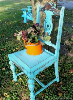 turquoise distressed chair, Petticoat Junktion