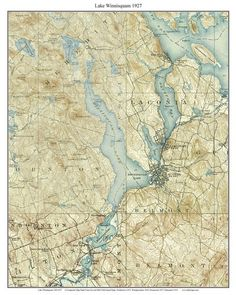 Lake Winnipesaukee Area 19091931 Custom USGS Old Topo Map New