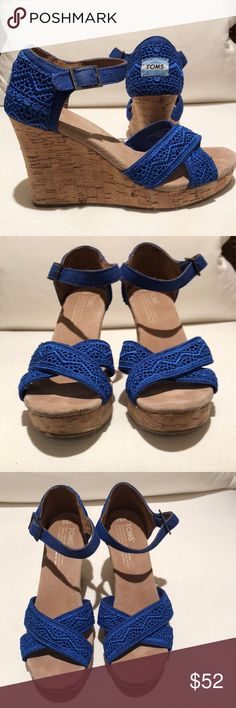 2060d589e0bd Toms blue wedge sandals 6.5 Only wore these a couple times. Beautiful blue  lace and