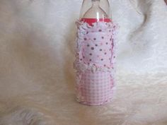 Pink Polka Dots and Checks Inspired Baby Bottle Cover/Holder /