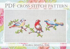 Spring Birds PDF cross stitch pattern / instant download