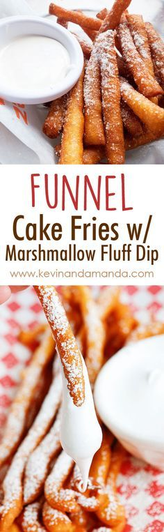 OMG these are Funnel Cake FRIES with Marshmallow Fluff Dip! So fun! Super easy method, what a great idea! Can't have a carnival or circus without funnel cake! Just Desserts, Delicious Desserts, Dessert Recipes, Yummy Food, Tasty, Think Food, Love Food, Fun Food, Funnel Cake Fries