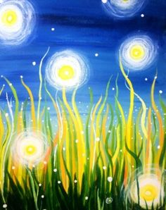 Fireflies - an uplifting portrait reminding us of summer nights #paintnite