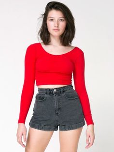 Stone Wash High-Waist Jean Cuff Short  #AmericanApparel and #PinATripWithAA