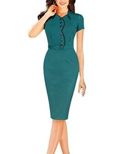 Senfloco Women's Vintage Green Short Sleeve Office Business Party Bodycon Dress, perfect for party, cocktail, office. Senfloco http://www.amazon.com/dp/B00ZZQYWHG