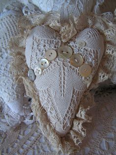 hearts I've made from old lace http://villaextra.blogspot.com