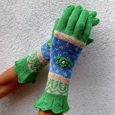 Fair Isle Colorwork Stranded Gloves by Dom Klary by domklary, $30.00