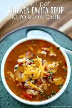 Crock Pot Chicken Fajita Soup is easy to make and tasty. The entire family will enjoy this Low Carb Crock Pot Chicken Fajita Soup recipe. You must try it! Keto Crockpot Recipes, Low Carb Recipes, Cooking Recipes, Healthy Recipes, Quick Recipes, High Protein Chicken Recipes, Cooking Rice, Cheap Recipes, Simply Recipes