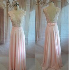 Fashion Backless chiffon Long party Dress, Fashion evening dress New Arrival, Pink Bridesmaid dress