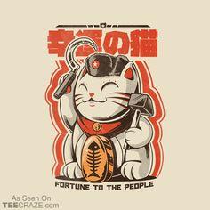 Catnist T Shirt By Ilustrata Design By Humans Japan Illustration, Illustration Design Graphique, Poster Manga, Poster Art, Typography Poster, Maneki Neko, Japanese Poster Design, Pop Art, Cat Character