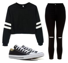 """•cba•"" by romadee ❤ liked on Polyvore featuring New Look and Converse"