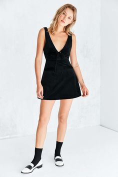 Capulet Roxy Tie-Front Corduroy A-Line Mini Dress - Urban Outfitters