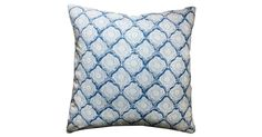 Block-printed in indigo hues, a colorful pattern gracefully adorns the face of this combed cotton pillow. A feather-and-down insert ensures this pillow is as comfortable as it is stylish. Solid...
