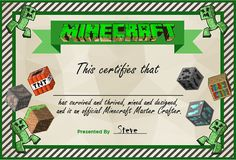Minecraft Party: Minecraft Master Certificate for Party favors and events