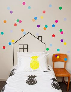 polka dot wall stickers and playhouse outline in washi tape at the head of the bed - cute for a kid's room - Picmia Deco Stickers, Wall Stickers, Wall Decals, Wall Art, Polka Dot Walls, Polka Dots, Deco Kids, Big Girl Rooms, Kids Rooms