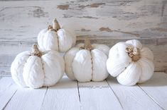 Set of 4 White lace sweater pumpkins in varying sizes Ready to ship These pumpkins make the cutest fall or holiday decor and go great with so many styles of decor! Made out of recycled sweaters. Shabby Chic Homes, Shabby Chic Decor, Sweater Pumpkins, Pumpkin Pumpkin, Pumpkin Spice, Diy Crafts For Gifts, Fall Crafts, Fabric Pumpkins, Farmhouse Style Decorating