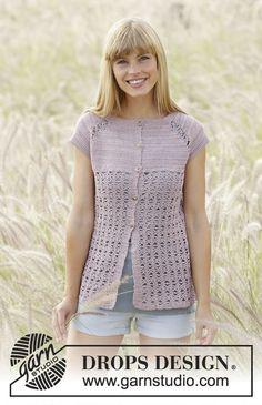 Gehaakt DROPS vest met korte mouwen, raglan en kantpatroon van Cotton Viscose. Maat: S - XXXL. Gratis patronen van DROPS Design.