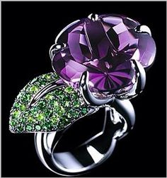 Rosamaria G Frangini | High Purple Jewellery | Amethyst & Tsavorites Ring