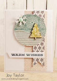 Less is More / jtcardmaking (colors, pattern paper, wood veneer tree, layout)