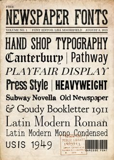 DIY Free Newspaper Fonts from A Little Scrapbooking. Included in...