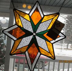 "Green and Amber Star Stained Glass Panel. 15""x12"" Decorative window treatment or Home decor."
