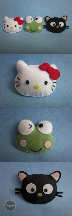 Turma da Hello Kitty carinhas em feltro