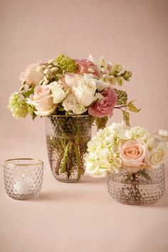 Centerpiece style for vase and votive is pretty. Prefer less flowers for the arrangements.  -ES  Golden Hobnail Vessels from @BHLDN