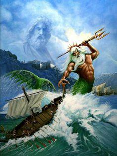 En la mitología griega, Poseidón era el dios del mar, así como de los caballos y, como «Agitador de la Tierra», de los terremotos. El nombre del dios marino etrusco Nethuns fue adoptado en latín para Neptuno (Neptunus) en la mitología romana, siendo ambos análogos a Poseidón. Las inscripciones muestran que Poseidón fue venerado en Pilos y Tebas en la Grecia micénica de finales de la Edad del Bronce, pero fue integrado en el panteón olímpico posterior como hermano de Zeus y Hades. Poseidón…