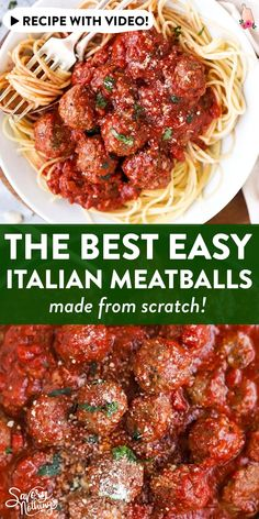 Easy Italian Meatballs are juicy homemade beef meatballs baked in a simple tomato sauce. You will not believe how quick these are to make - all from scratch! Full of healthy real food ingredients and Beef Dishes, Pasta Dishes, Food Dishes, Sauce Spaghetti, Spaghetti Recipes, Simple Spaghetti Recipe, Vegetarian Spaghetti, Homemade Spaghetti Sauce, Easy Italian Meatballs