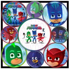 """80% OFF PJ MASKS Nickelodeon Bottle Cap Images Digital 8x10 & 4x6 1.5"""" 1 inch 12Mm 16Mm Circles Collage Sheet Hair Bow Center Printable by RonisBowTique on Etsy"""
