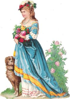 Oblaten Glanzbild scrap die cut chromo  Lady Dame 13,8cm Hund dog Federhut