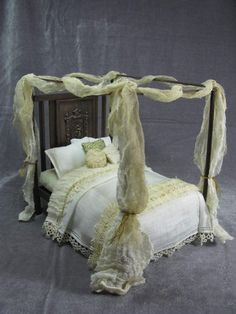 OOAK 1 12 Scale Dollhouse Miniature Ghostly Victorian Canopy Bed Halloween | eBay