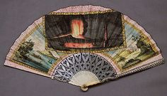 Italian Fan ca. 1779, Parchment, ivory and mother-of-pearl.    I find the rectangular painting of the eruption of Vesuvius in the 1770s very interesting, both in terms of shape, and subject matter.