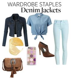 """Let's go with denim"" by sierra74 ❤ liked on Polyvore featuring Miss Selfridge, LE3NO, Barbour, Michael Antonio, Casetify, Yves Saint Laurent, denimjackets and WardrobeStaples"