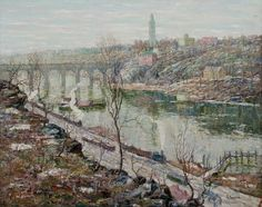 High Bridge, Harlem River by Ernest Lawson, San Antonio Museum of Art; jpg (2000×1583)