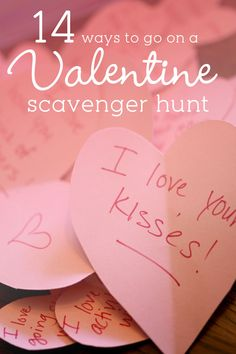 While I was looking for ideas to do our latest Valentine scavenger hunt, I found a bunch of Valentine scavenger hunt ideas to try too, they're so lovely!
