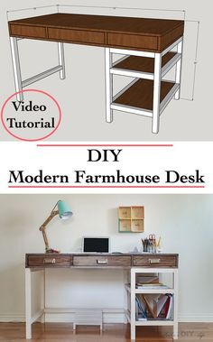 How to build a desk - Easy modern farmhouse desk - DIY desk with drawer and storage - FREE plans and video tutorial! : How to build a desk - Easy modern farmhouse desk - DIY desk with drawer and storage - FREE plans and video tutorial! Farmhouse Desk, Farmhouse Furniture, Modern Farmhouse, Farmhouse Small, Farmhouse Plans, Rustic Furniture, Outdoor Furniture, Diy Furniture Projects, Diy Furniture Plans