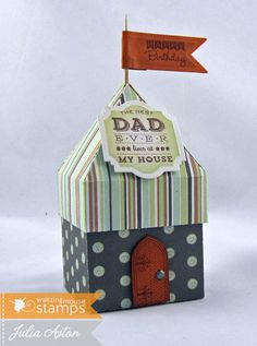 Create With Me:   A cute little Fairy House Box (a freebie template from Waltzingmouse that I cut with my Silhouette Cameo) using stamps from Man of the Hour by Waltzingmouse.