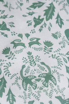 Forest Story - Damask Fabric - Half Yard - Sage Green on White. 17.00 for a half yard, via Etsy.