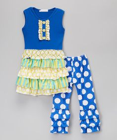 Loving this Blue Ruffle Top & Polka Dot Pants - Infant, Toddler & Girls on #zulily! #zulilyfinds