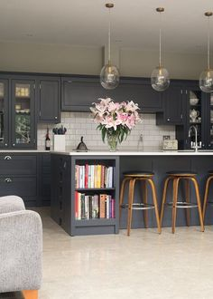 Fab kitchen combining dark colours with light