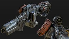 Inspired by various Wolfenstein weapons Sci Fi Weapons, Weapon Concept Art, Fantasy Weapons, Weapons Guns, Sci Fi Fantasy, Modified Nerf Guns, Techno, Sci Fi Games, Future Weapons