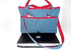 17 inch Laptop  Bag in Blue Denim with Red Bandana Accent Trim | memawsews - Bags & Purses on ArtFire